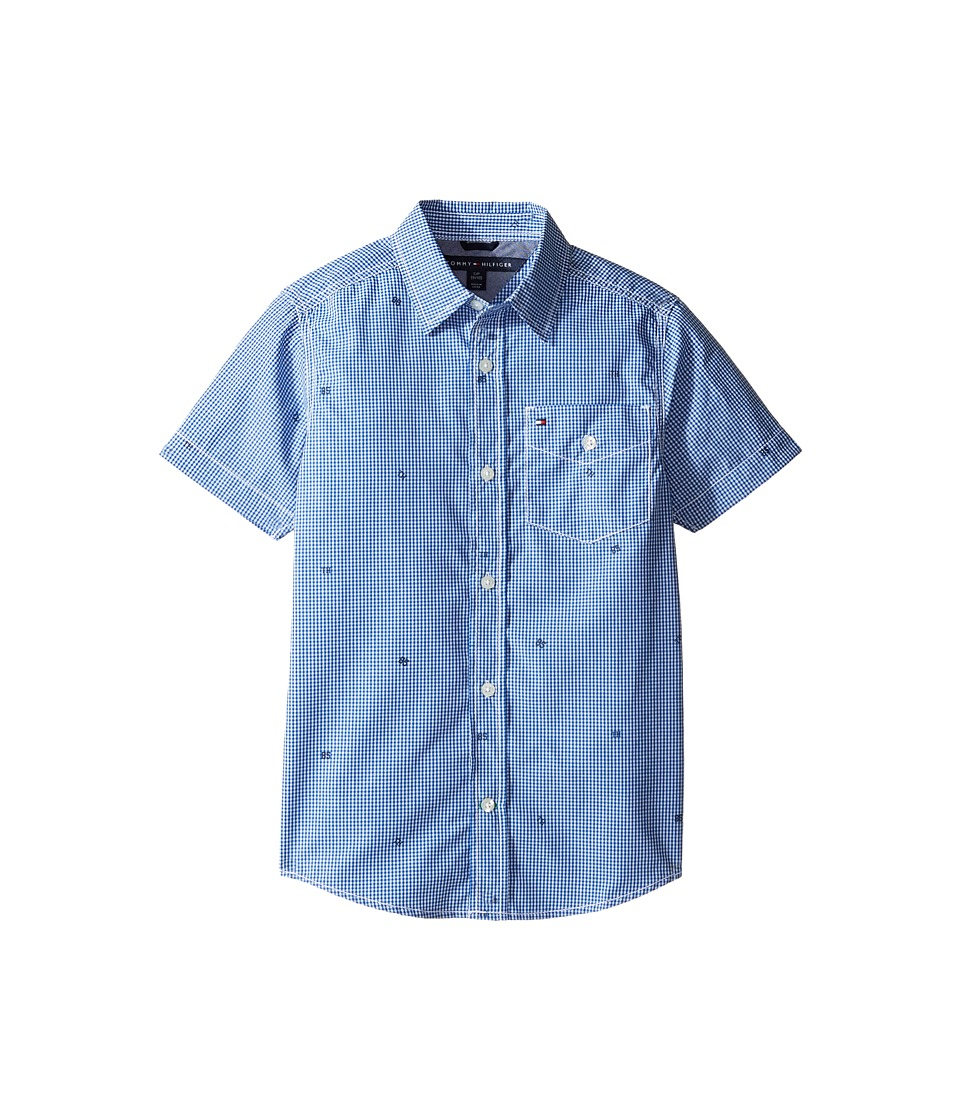 Tommy Hilfiger Kids - Charlie Short Sleeve Plaid Shirt (Big Kids) (Deep Dive Blue) Boy's Clothing