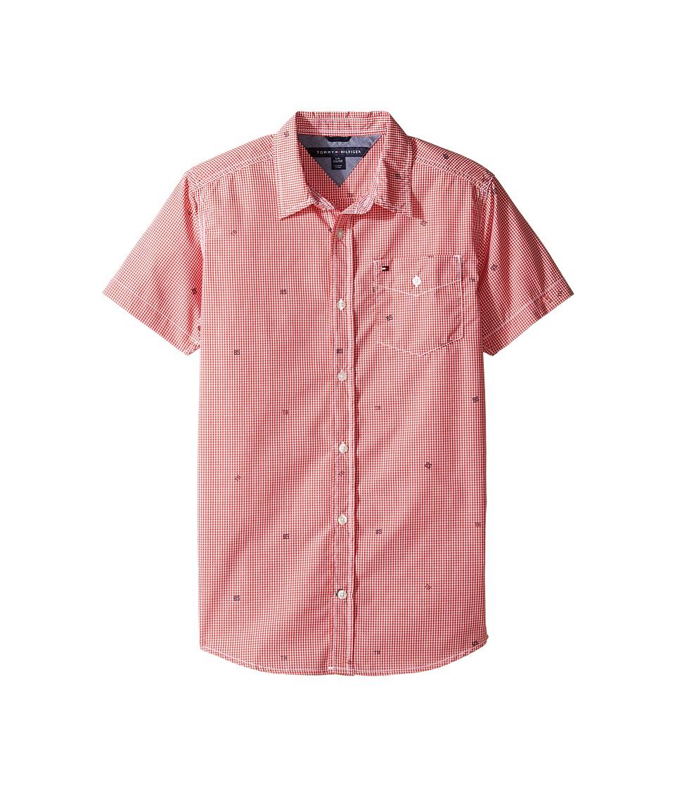 Tommy Hilfiger Kids - Charlie Short Sleeve Plaid Shirt (Big Kids) (Hibiscus Tea) Boy's Clothing