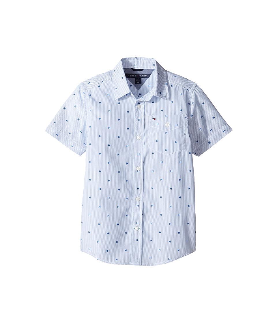 Tommy Hilfiger Kids - H-Stripe Short Sleeve Shirt (Big Kids) (Deep Dive Blue) Boy's Clothing