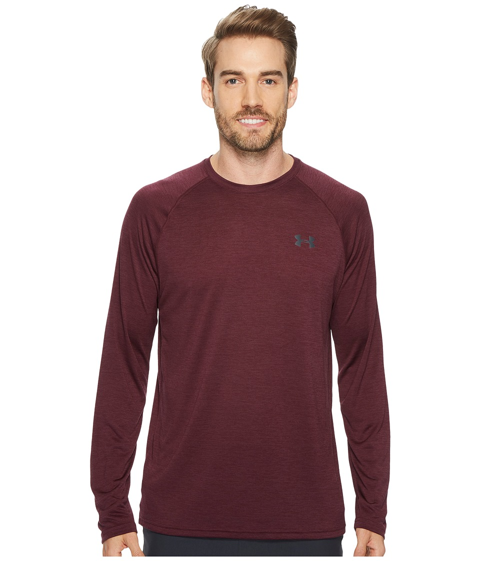 Under Armour - UA Techtm Patterned Long Sleeve Tee (Raisin Red/Stealth Gray) Men's Long Sleeve Pullover