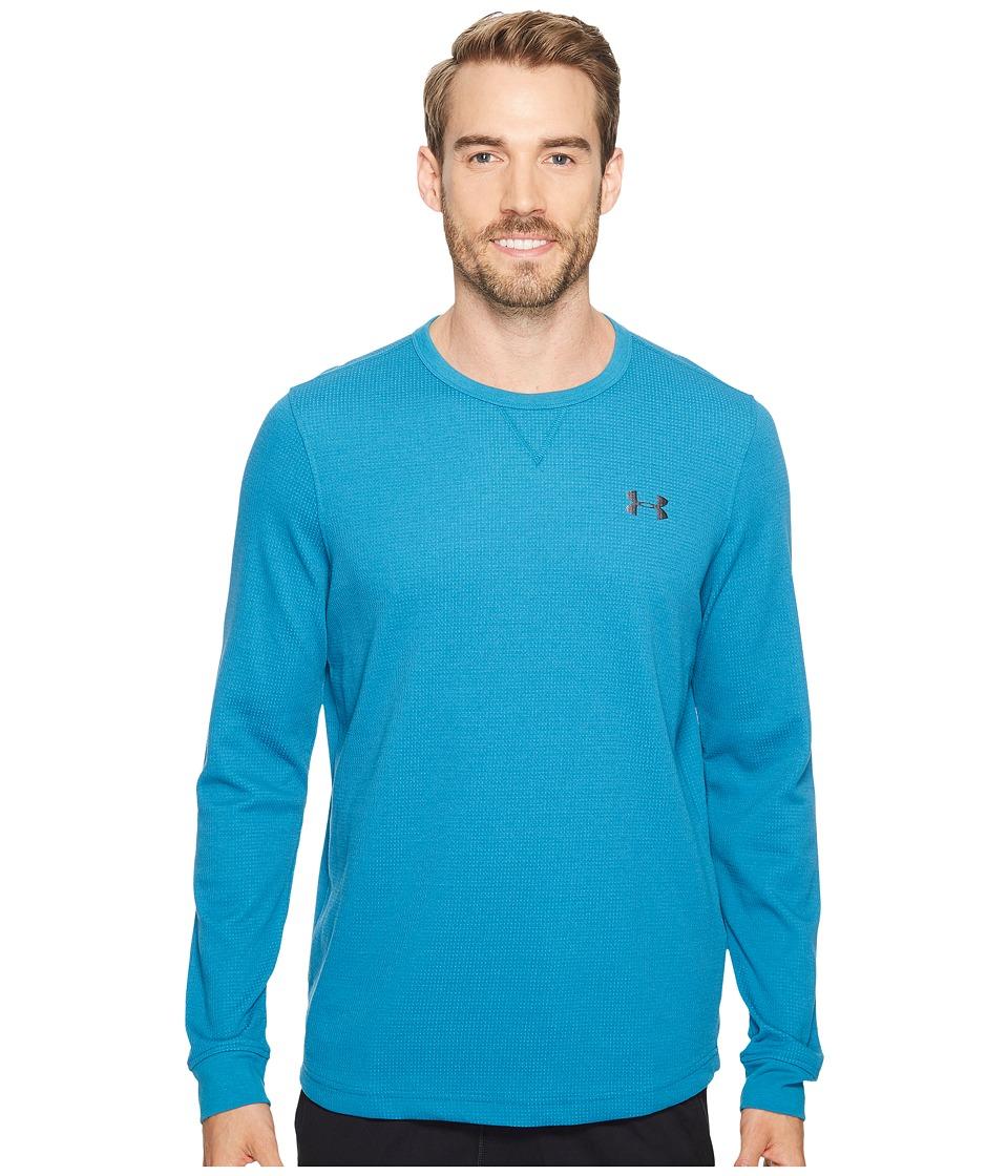 Under Armour - UA Waffle Long Sleeve Crew (Bayou Blue/Graphite) Men's Sweatshirt