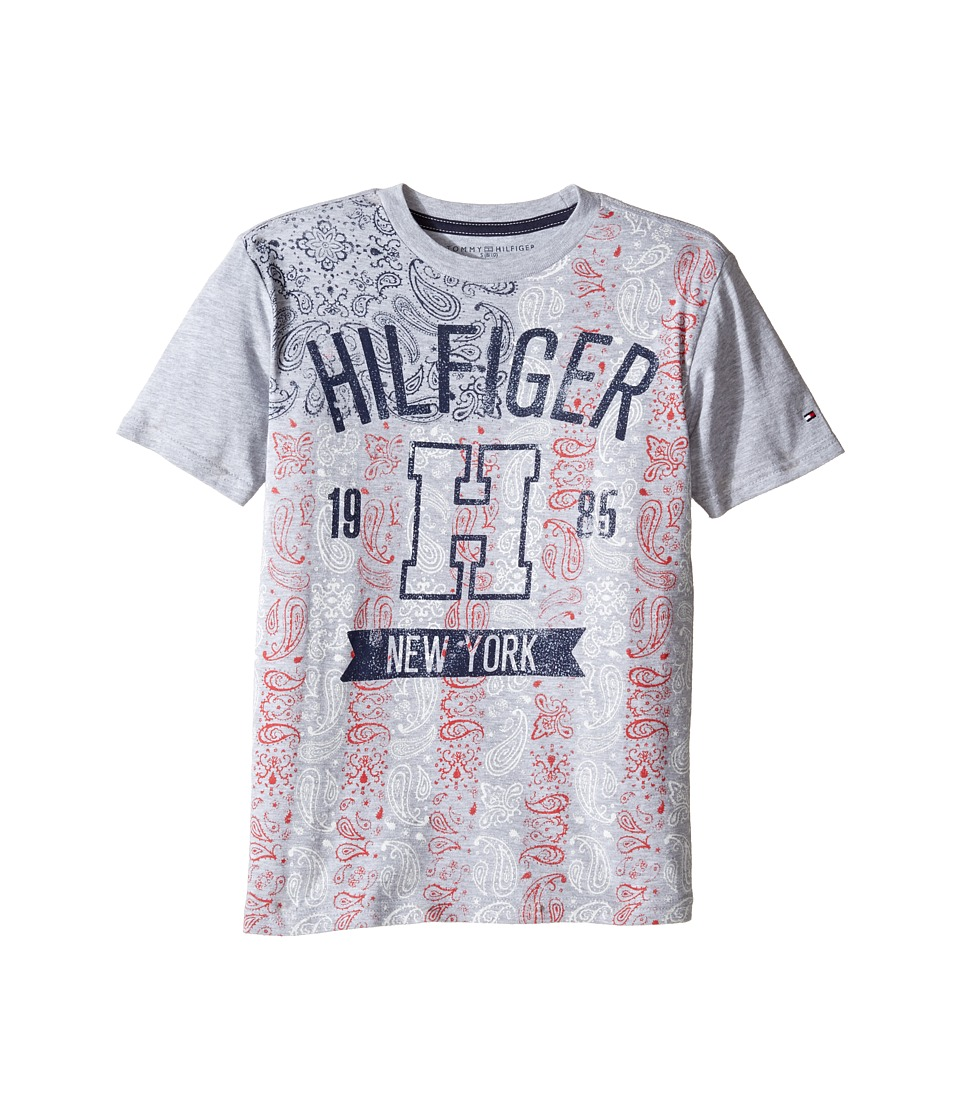 Tommy Hilfiger Kids - Paisley Flag Tee (Big Kids) (Grey Heather) Boy's T Shirt