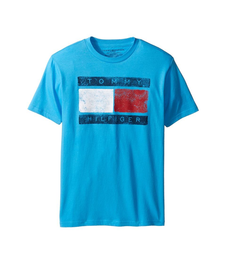 Tommy Hilfiger Kids - Tommy Flag Tee (Big Kids) (Atlantis Sea) Boy's T Shirt