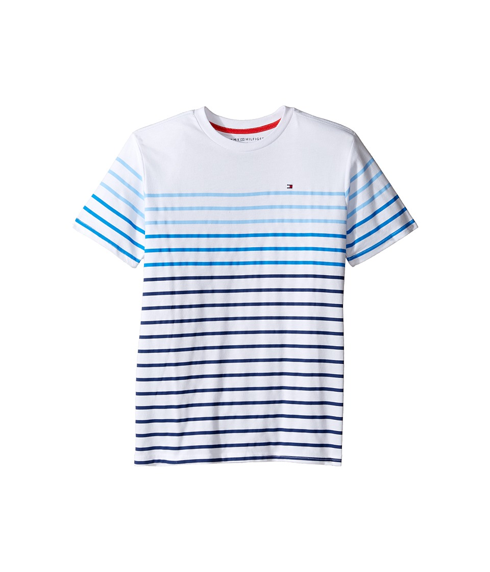 Tommy Hilfiger Kids - Printed Stripe Crew Tee (Big Kids) (Summer Blue) Boy's T Shirt