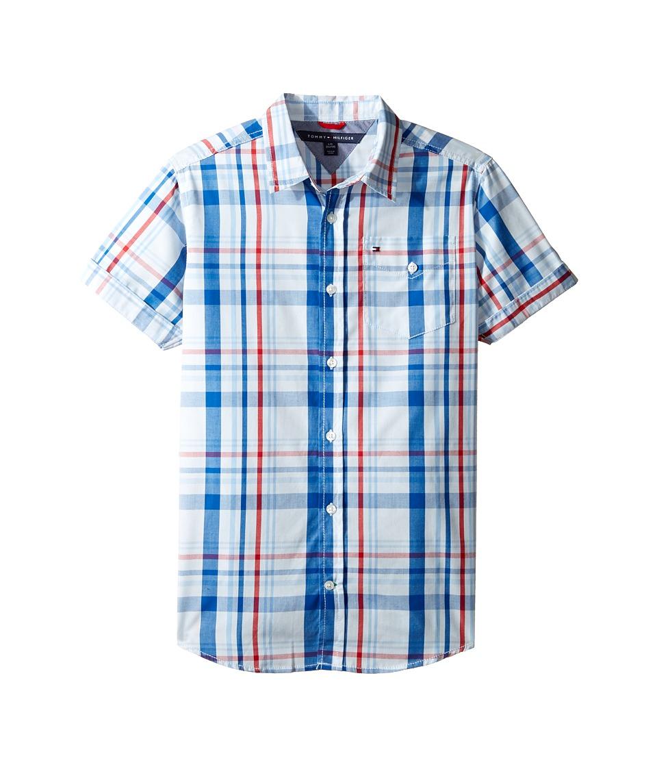 Tommy Hilfiger Kids - Corbin Short Sleeve Plaid Shirt (Big Kids) (Symphony Blue) Boy's Clothing