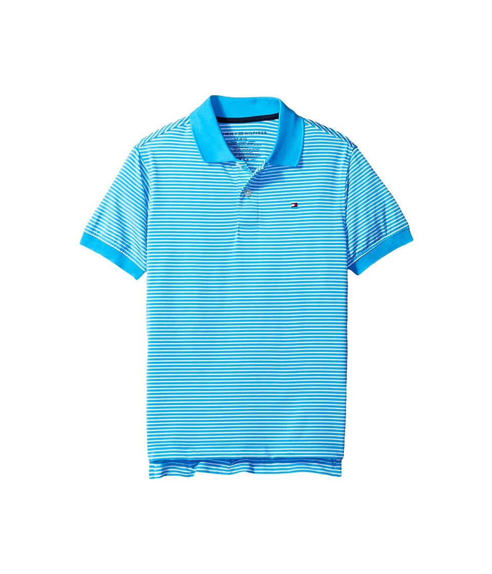 Tommy Hilfiger Kids - Stripe Stretch Synthetic Polo (Big Kids) (Atlantis Sea) Boy's Clothing