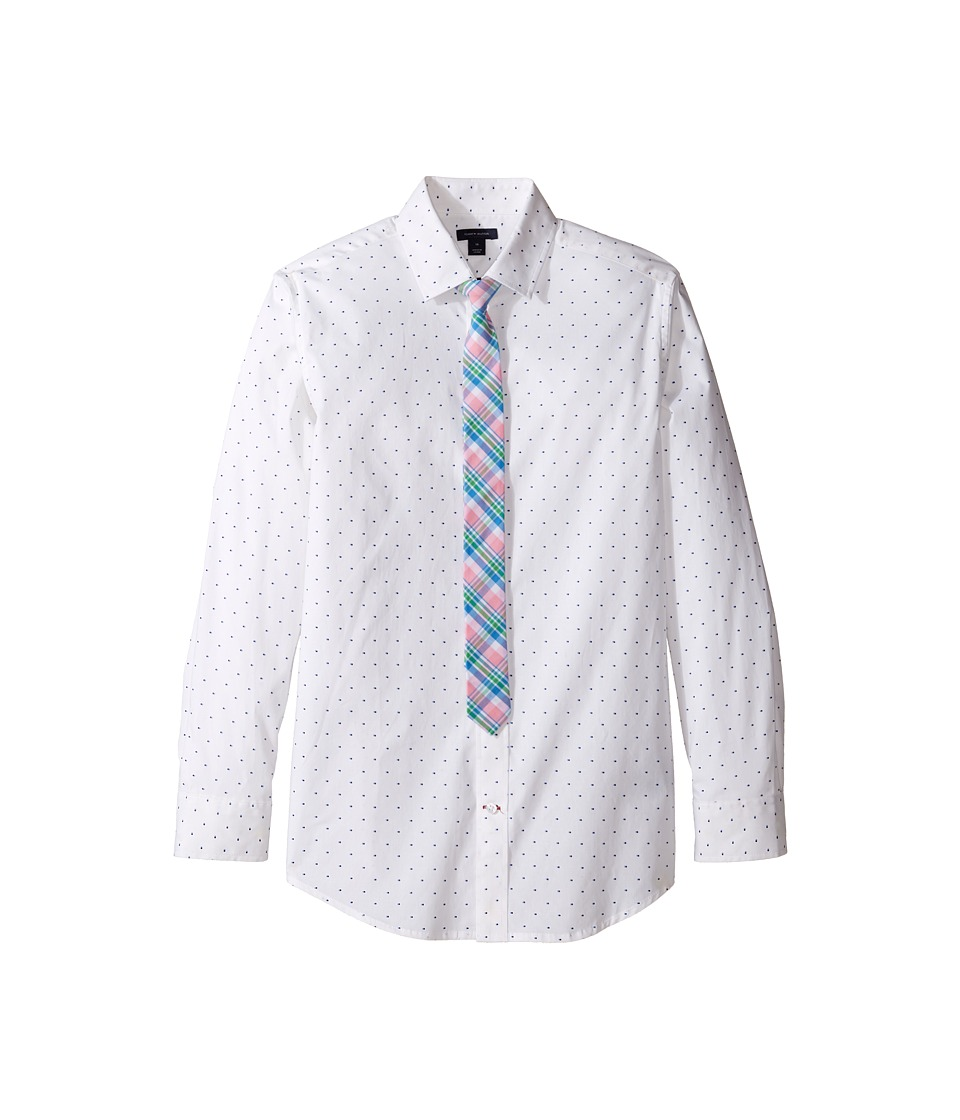 Tommy Hilfiger Kids - Long Sleeve Print Shirt with Necktie (Big Kids) (White) Boy's Clothing