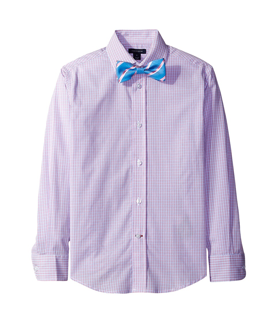 Tommy Hilfiger Kids - Long Sleeve Mini Gingham Shirt with Bowtie (Big Kids) (Medium Pink) Boy's Clothing
