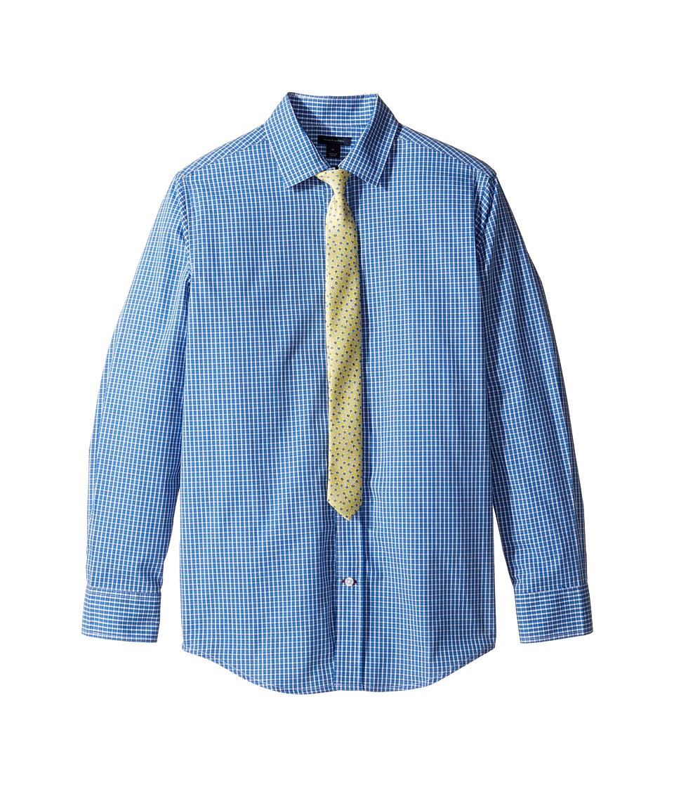 Tommy Hilfiger Kids - Long Sleeve Mini Gingham Shirt with Tie (Big Kids) (Medium Blue) Boy's Clothing