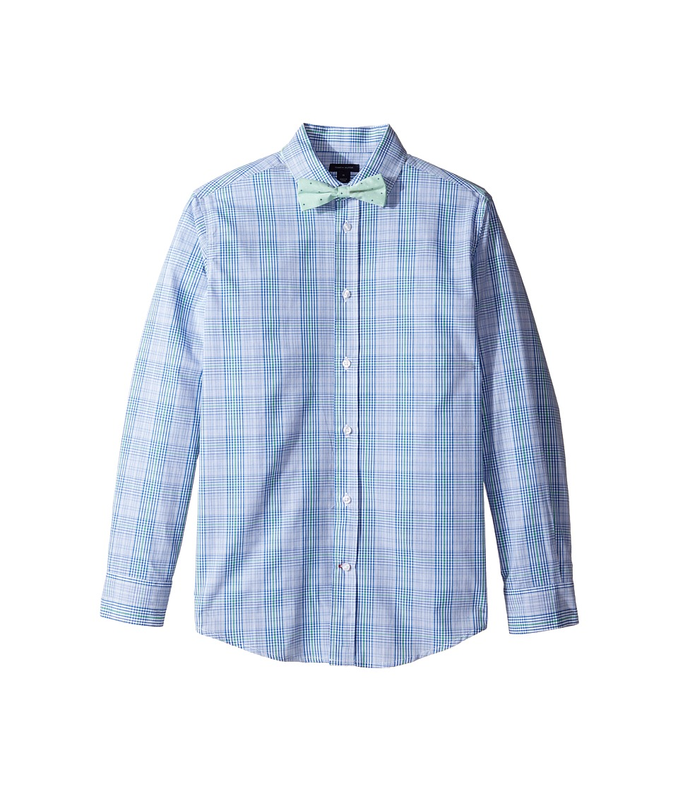 Tommy Hilfiger Kids - Long Sleeve JJ Plaid with Tie (Big Kids) (Bright Green) Boy's Clothing
