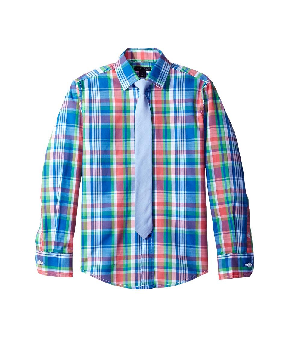 Tommy Hilfiger Kids - Long Sleeve JJ Plaid with Tie (Big Kids) (Medium Pink) Boy's Clothing