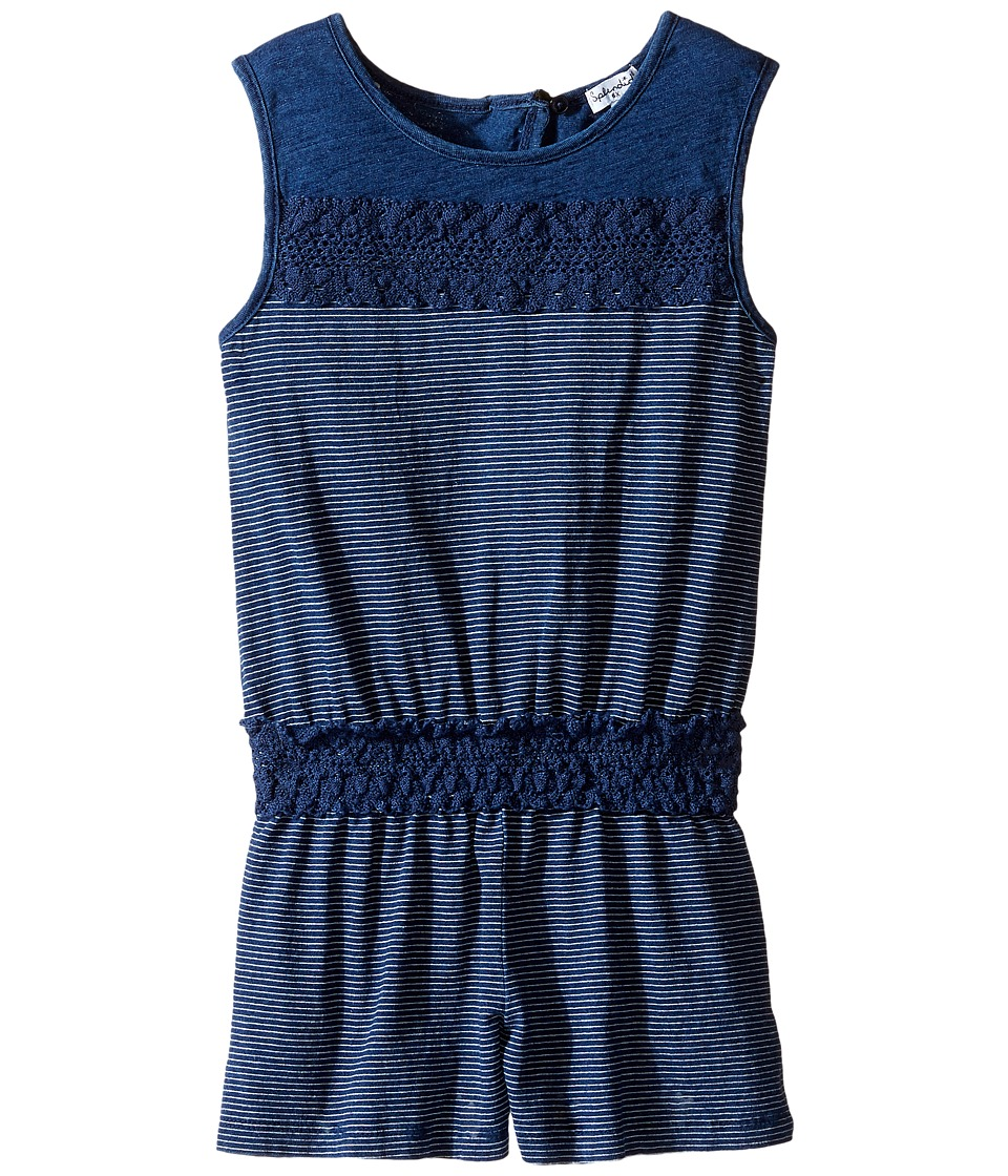 Splendid Littles - Indigo Romper with Lace (Little Kids) (Dark Stone Stripe) Girl's Jumpsuit & Rompers One Piece