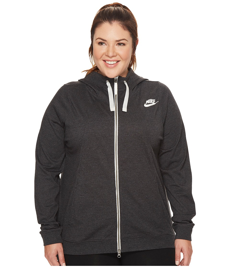 Nike Sportswear Gym Classic Full-Zip Hoodie (Size 1X-3X) (Black Heather/Sail) Women