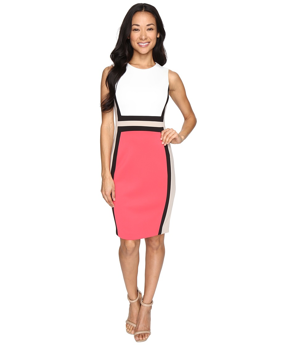 Calvin Klein - Color Block Sheath Dress CD6M1V5K (Watermelon Multi) Women's Dress
