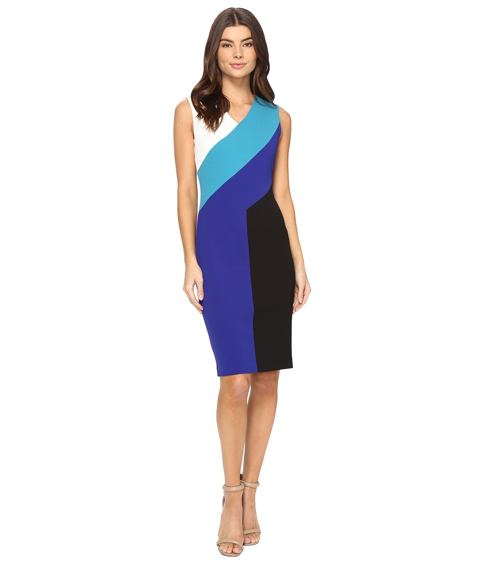 Calvin Klein - Color Block Sheath Dress CD7C101D (White/Lagoon/Atlantis/Black) Women's Dress