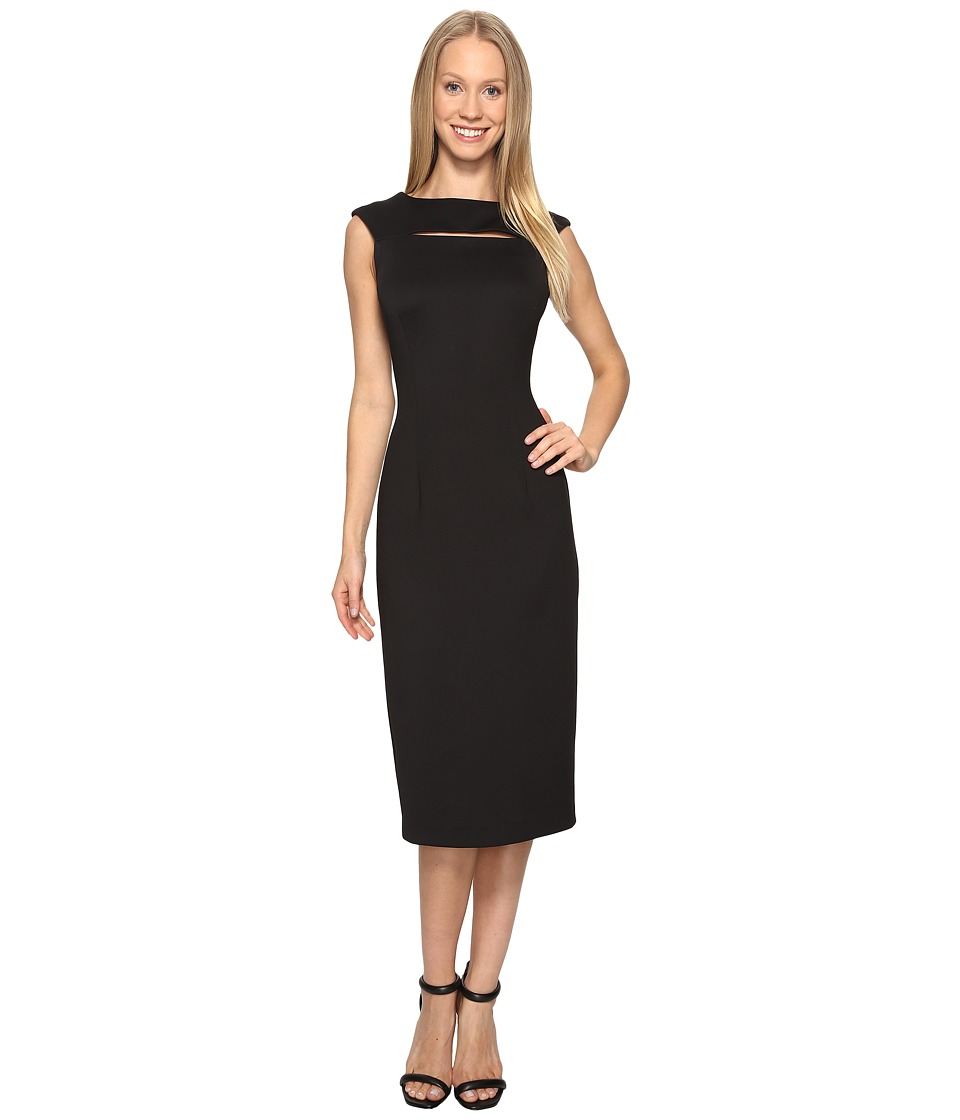 Calvin Klein - Cap Sleeve Midi Dress with Cut Out CD7M1X2X (Black) Women's Dress