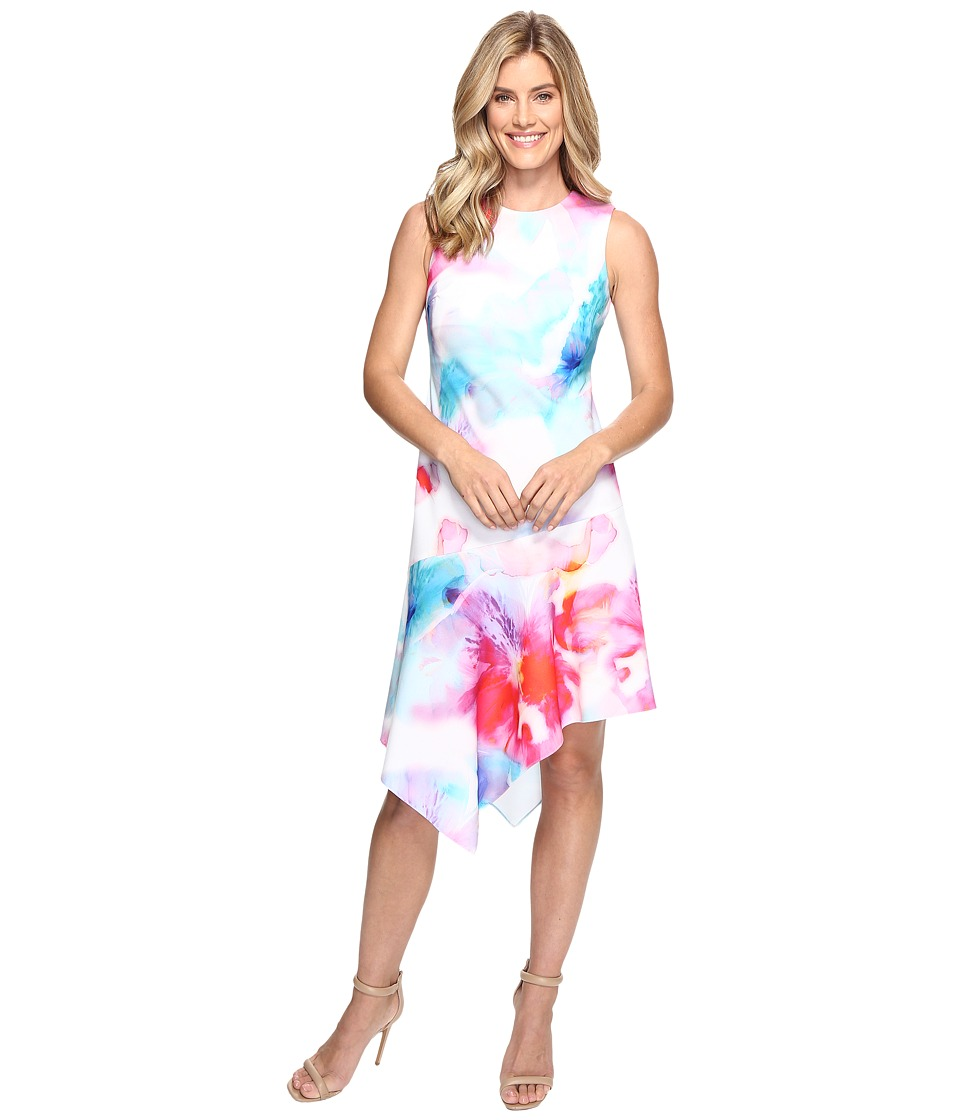 Calvin Klein - Floral Dress with Asymmetrical Hem CD7C201K (Multi) Women's Dress