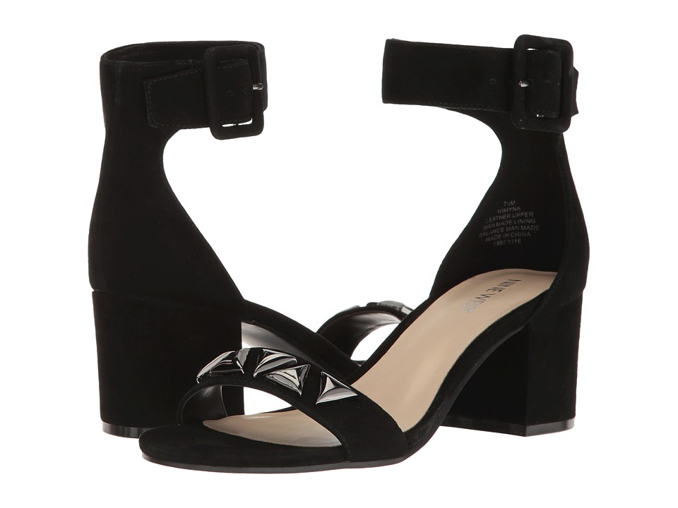 Nine West - Iyna (Black Suede) Women's 1-2 inch heel Shoes