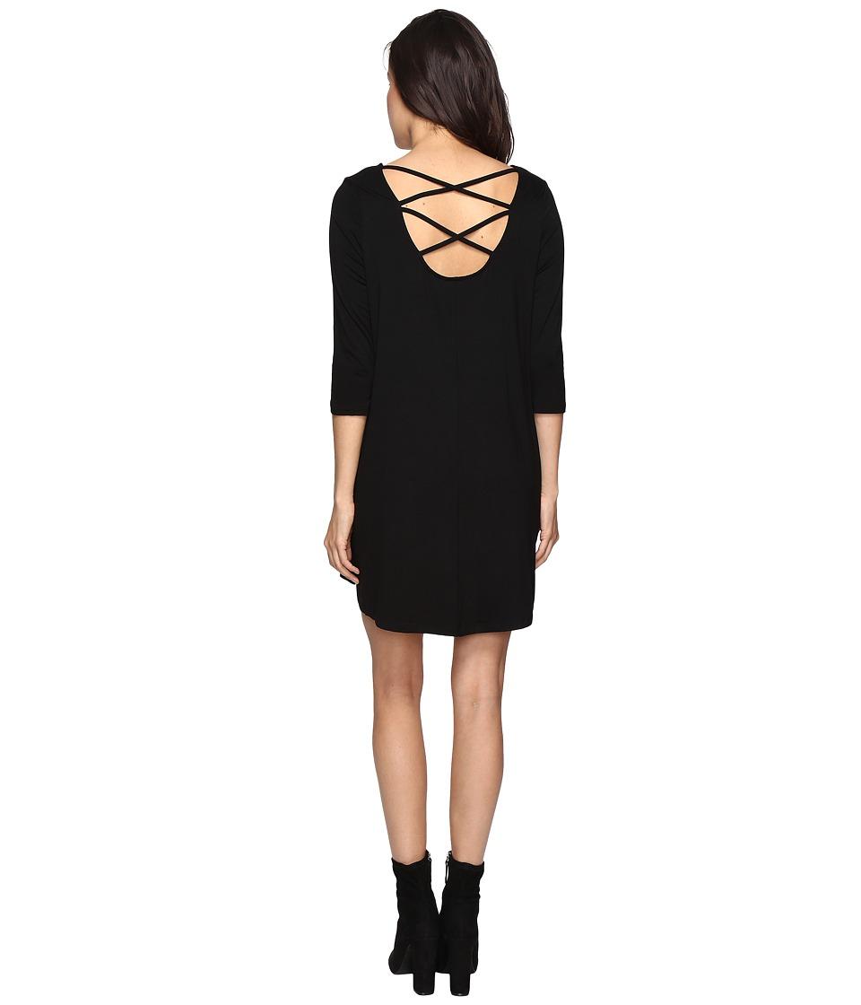 Culture Phit Nova 3/4 Sleeve Dress with Back Strap Detail (Black) Women