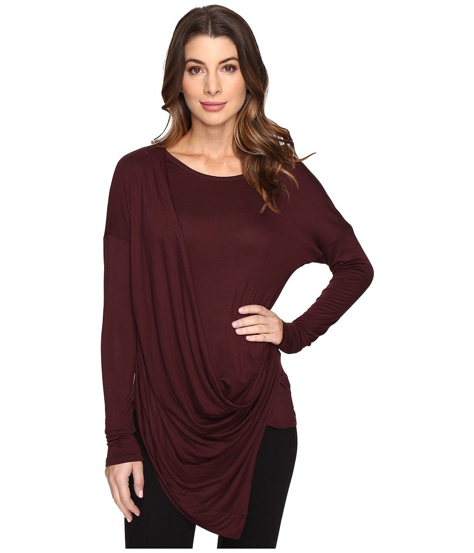 Culture Phit - Blithe Long Sleeve Drape-Front Top (Maroon) Women's Clothing