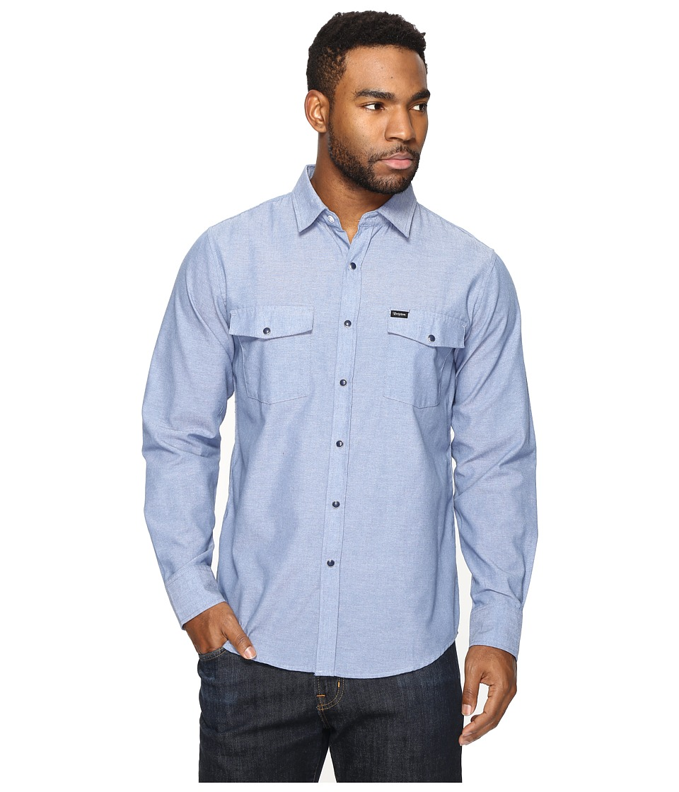 Brixton - Wayne L/S Woven (Washed Indigo) Men's Long Sleeve Button Up