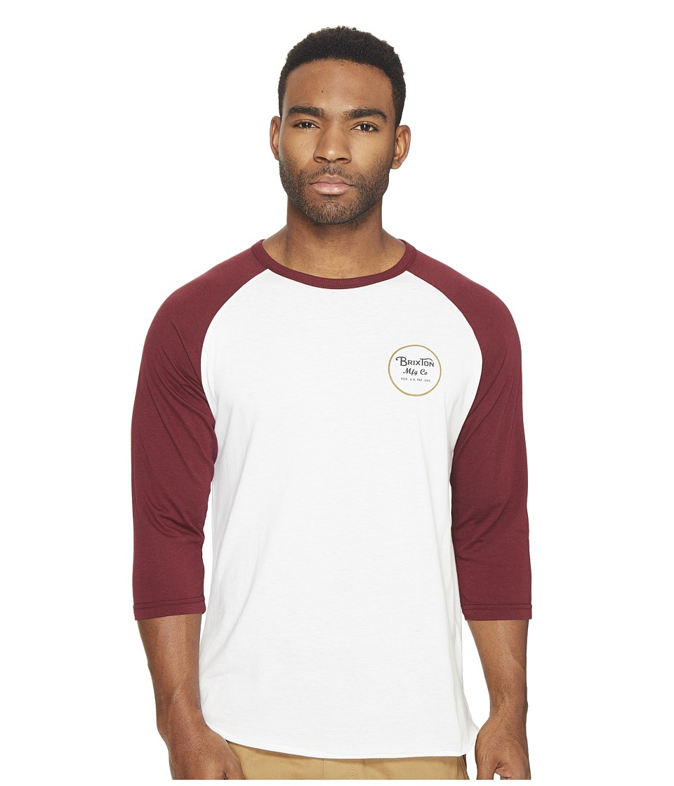 Brixton - Wheeler 3/4 Sleeve Tee (Off-White/Maroon) Men's Long Sleeve Pullover
