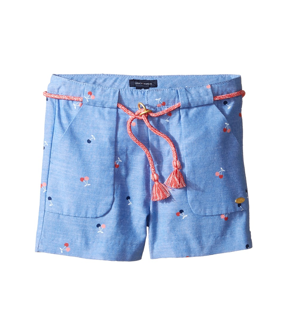 Tommy Hilfiger Kids - Printed Shorts with Novelty Tassle Belt (Little Kids) (Palace Blue) Girl's Shorts