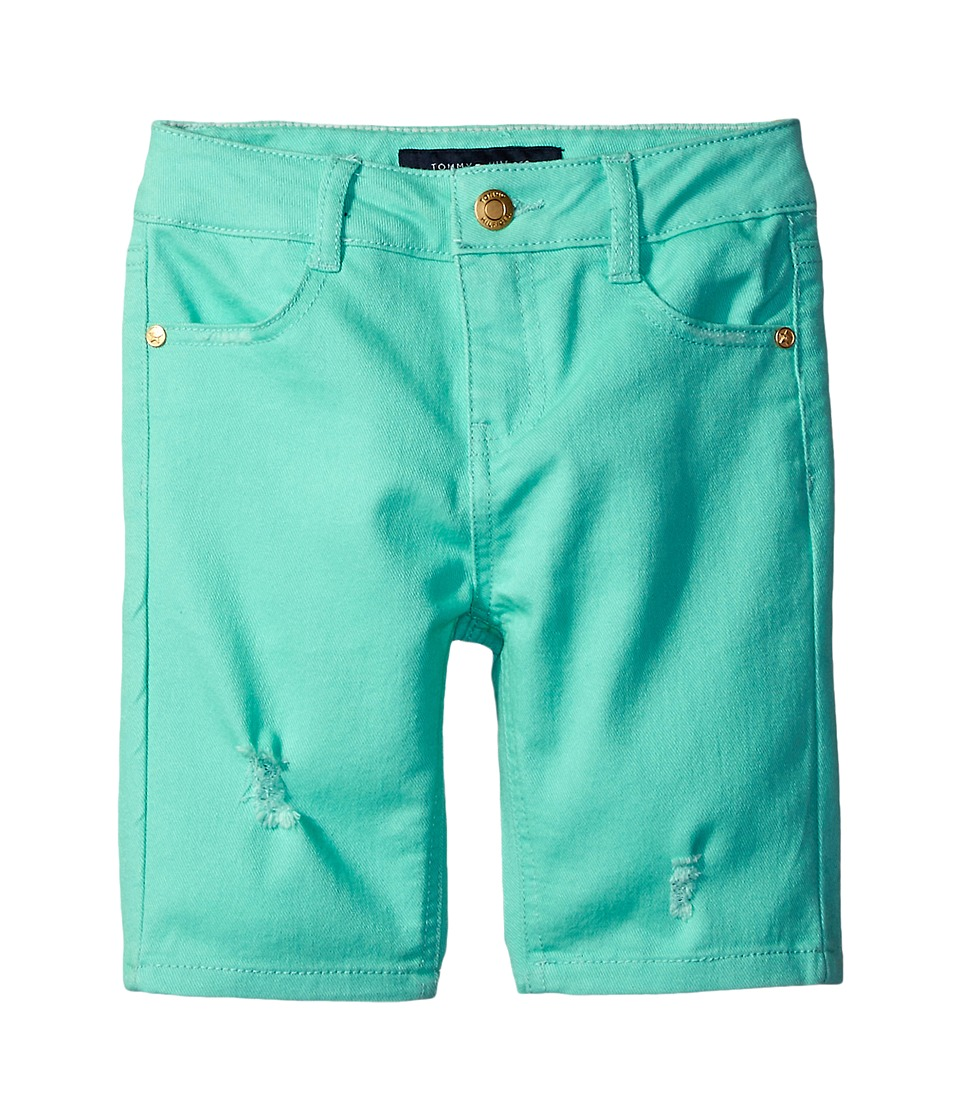 Tommy Hilfiger Kids - Bermuda Length Distressed Denim Shorts in Cabbage (Little Kids) (Cabbage) Girl's Shorts