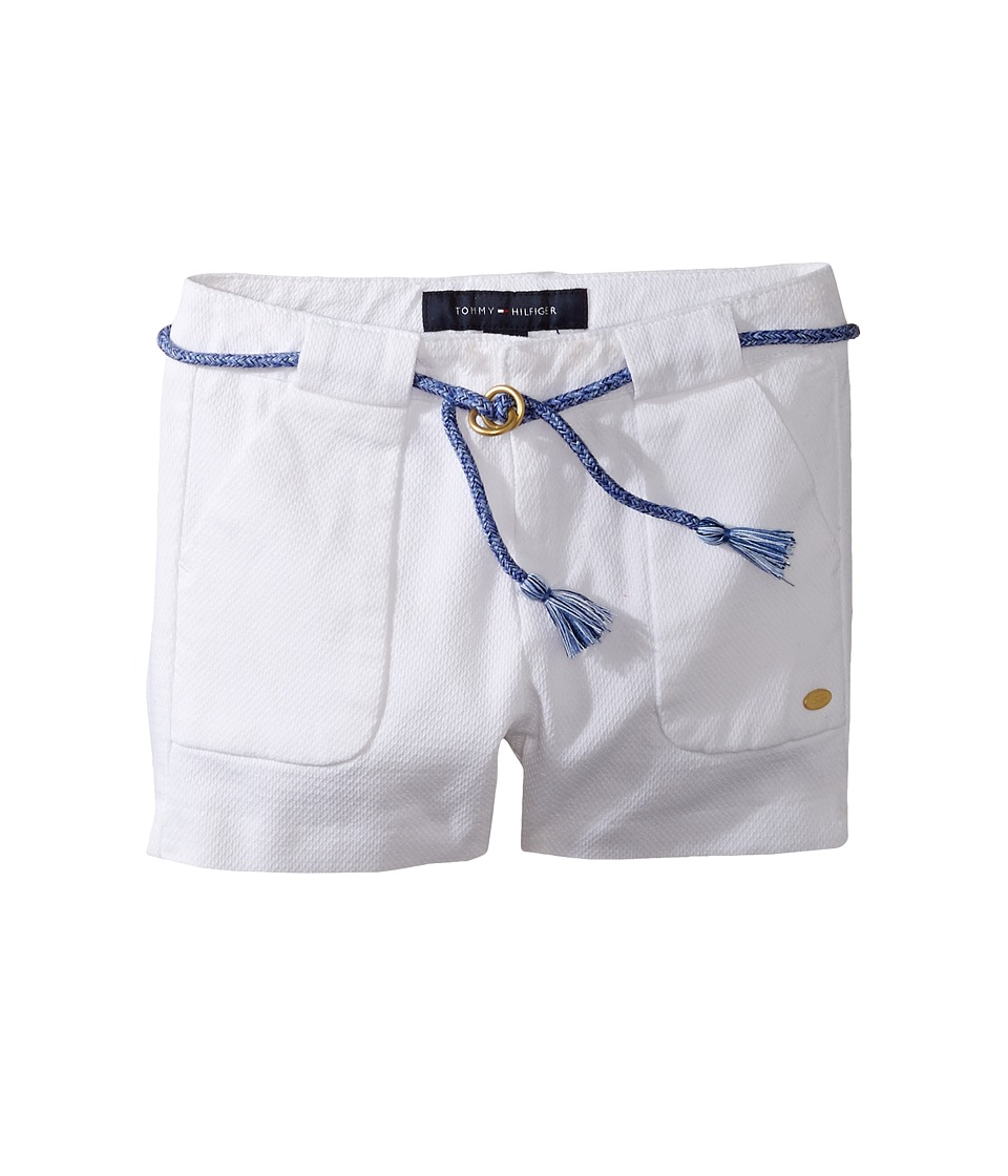 Tommy Hilfiger Kids - Woven Shorts with Belt (Little Kids) (White) Girl's Shorts