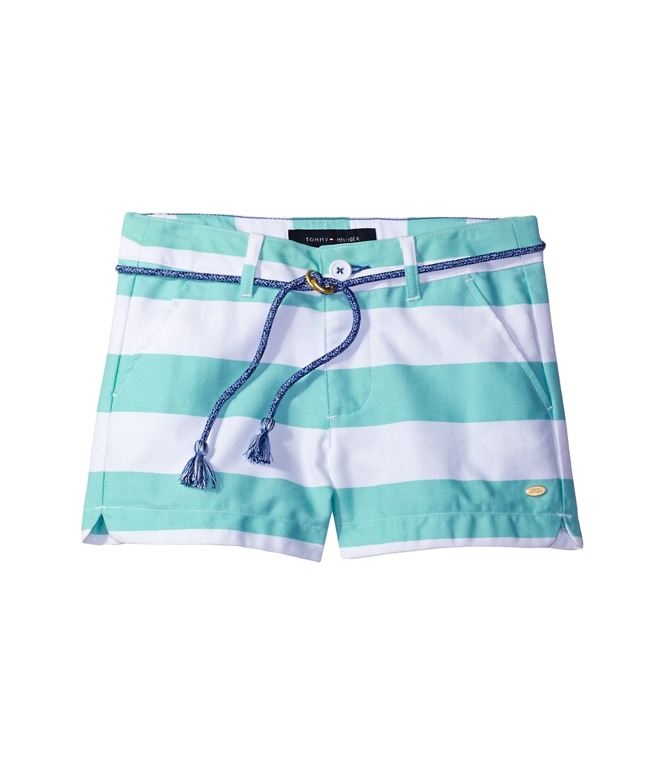 Tommy Hilfiger Kids - Rugby Stripe Shorts with Rope Belt (Toddler) (Cabbage) Girl's Shorts