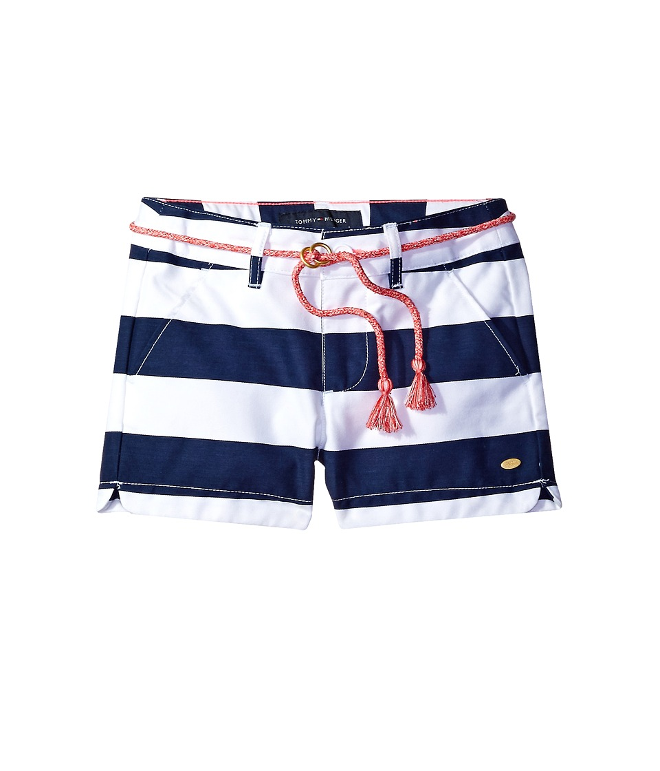 Tommy Hilfiger Kids - Rugby Stripe Shorts with Rope Belt (Toddler) (Flag Blue) Girl's Shorts