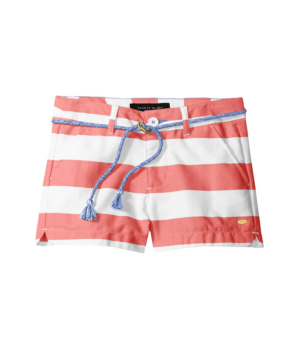 Tommy Hilfiger Kids - Rugby Stripe Shorts with Rope Belt (Toddler) (Sunkist Coral) Girl's Shorts