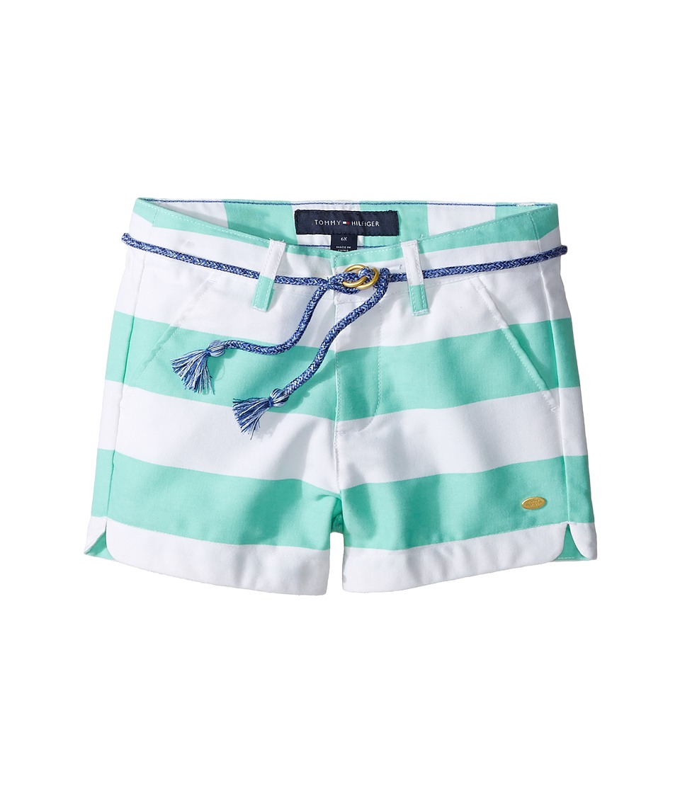 Tommy Hilfiger Kids - Rugby Stripe Shorts with Rope Belt (Little Kids) (Cabbage) Girl's Shorts