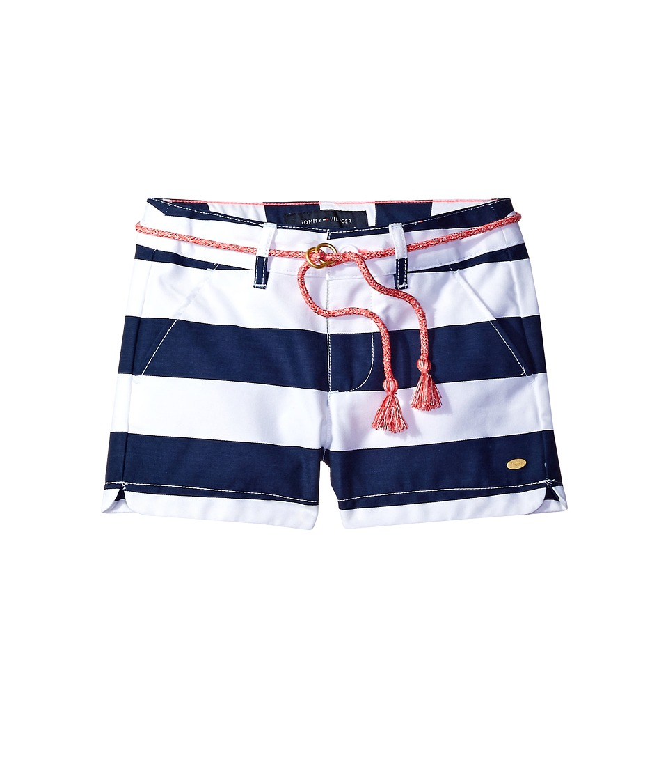 Tommy Hilfiger Kids - Rugby Stripe Shorts with Rope Belt (Little Kids) (Flag Blue) Girl's Shorts