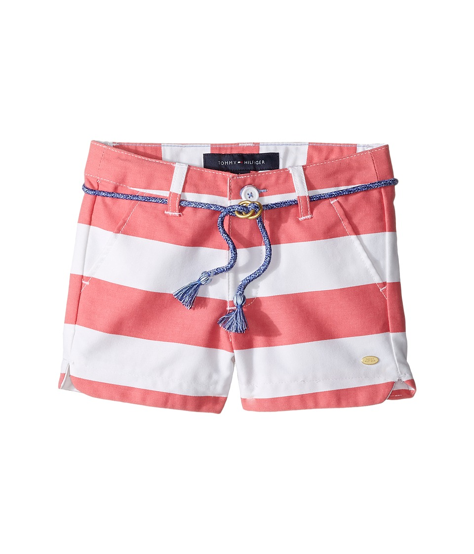 Tommy Hilfiger Kids - Rugby Stripe Shorts with Rope Belt (Little Kids) (Sunkist Coral) Girl's Shorts