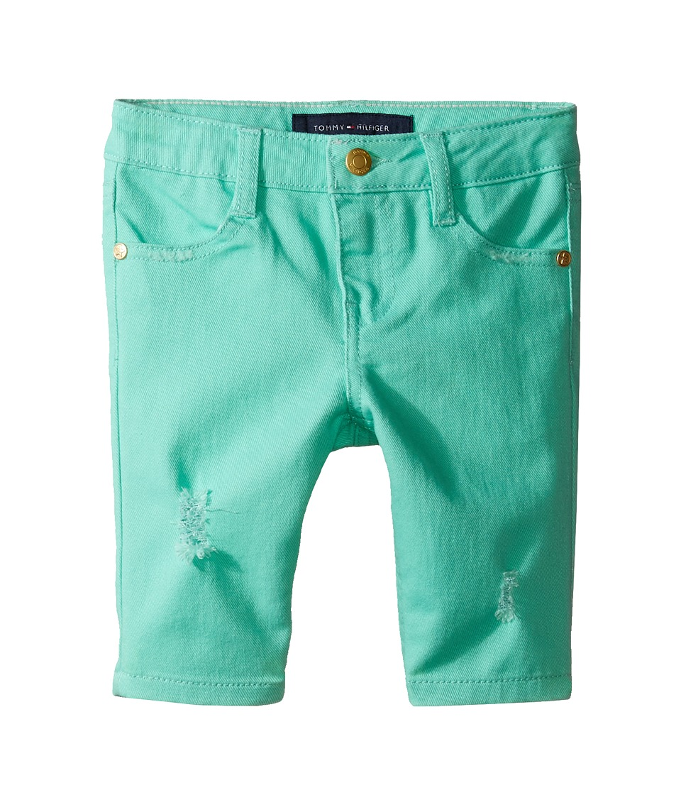 Tommy Hilfiger Kids - Bermuda Length Distressed Denim Shorts in Cabbage (Toddler) (Cabbage) Girl's Shorts