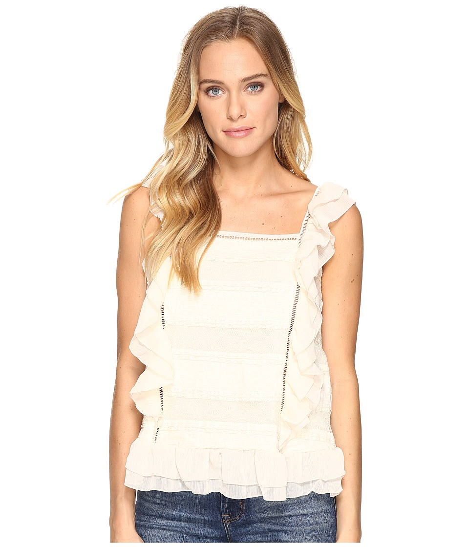 ROMEO & JULIET COUTURE - Sleeveless Lace Multi Layer Ruffle Top (Canvas) Women's Clothing
