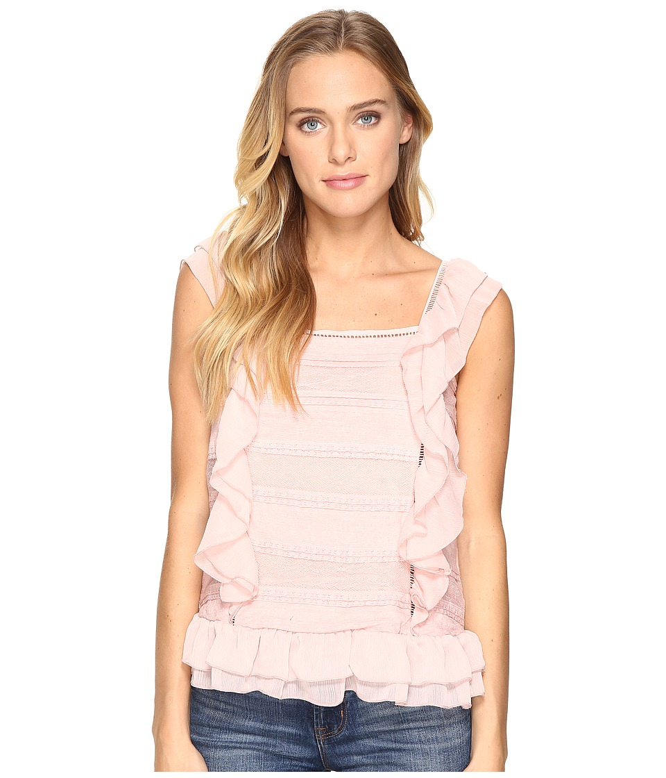 ROMEO & JULIET COUTURE - Sleeveless Lace Multi Layer Ruffle Top (Dusty Pink) Women's Clothing