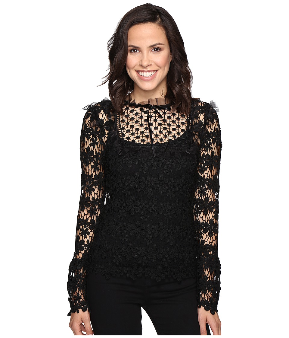 ROMEO & JULIET COUTURE - Lace Top (Black) Women's Clothing