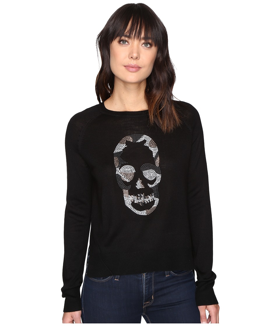 ROMEO & JULIET COUTURE - Long Sleeve Knit Nailhead Shirt (Black) Women's Clothing