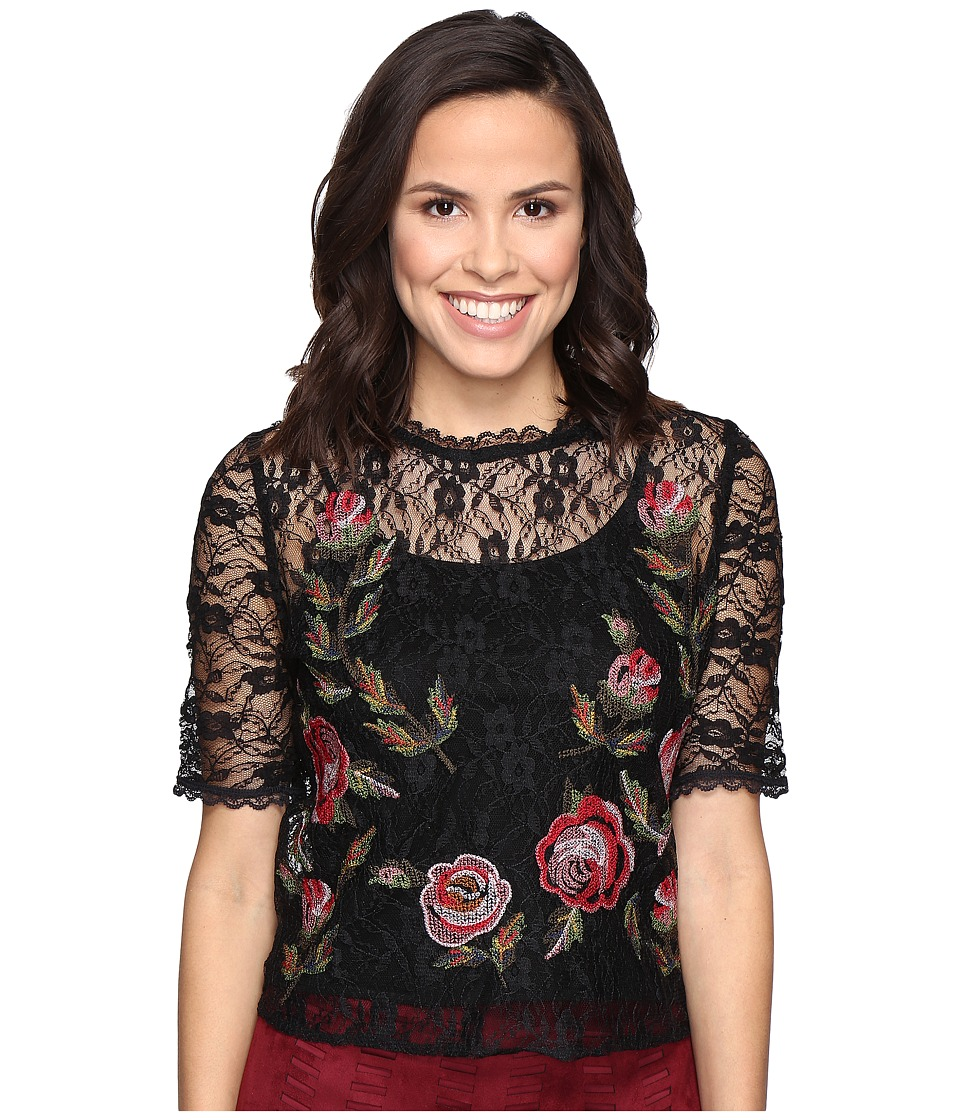 ROMEO & JULIET COUTURE - Short Sleeve Embroidery Lace Top (Black) Women's Clothing