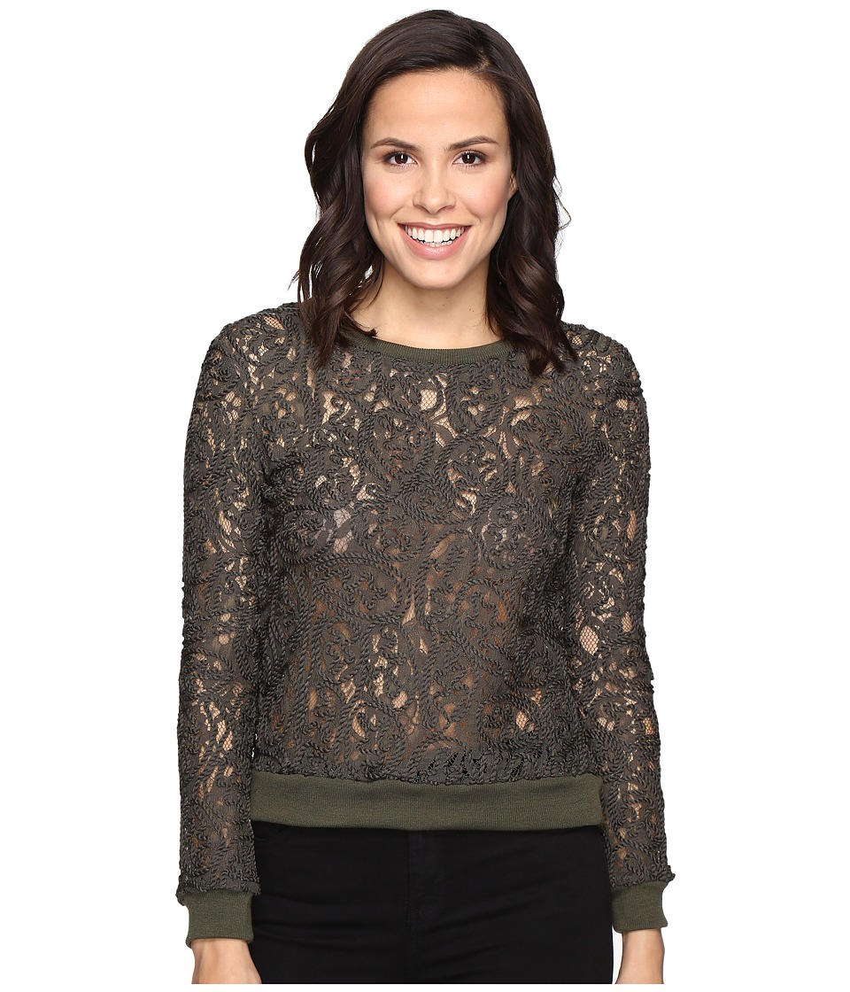 ROMEO & JULIET COUTURE - Lace Long Sleeve Textured Top (Olive) Women's Clothing