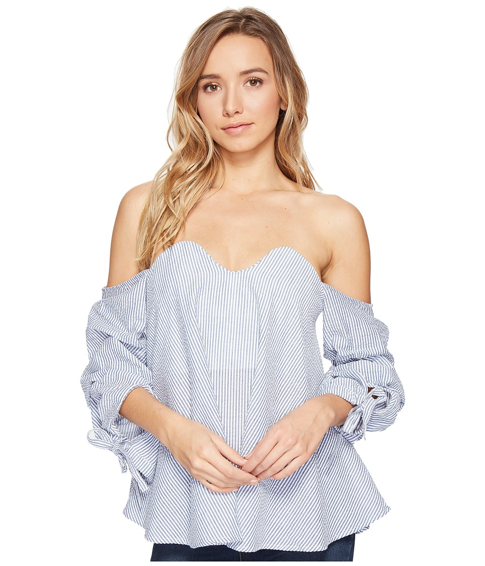 ROMEO & JULIET COUTURE - Off Shoulder Stripe Tope with Bow Detail (Blue/White) Women's Clothing