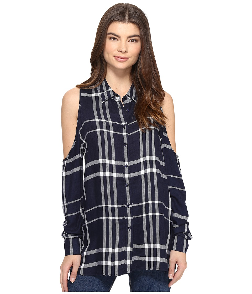 ROMEO & JULIET COUTURE - Long Sleeve Cold Shoulder Plaid Top (Navy) Women's Clothing
