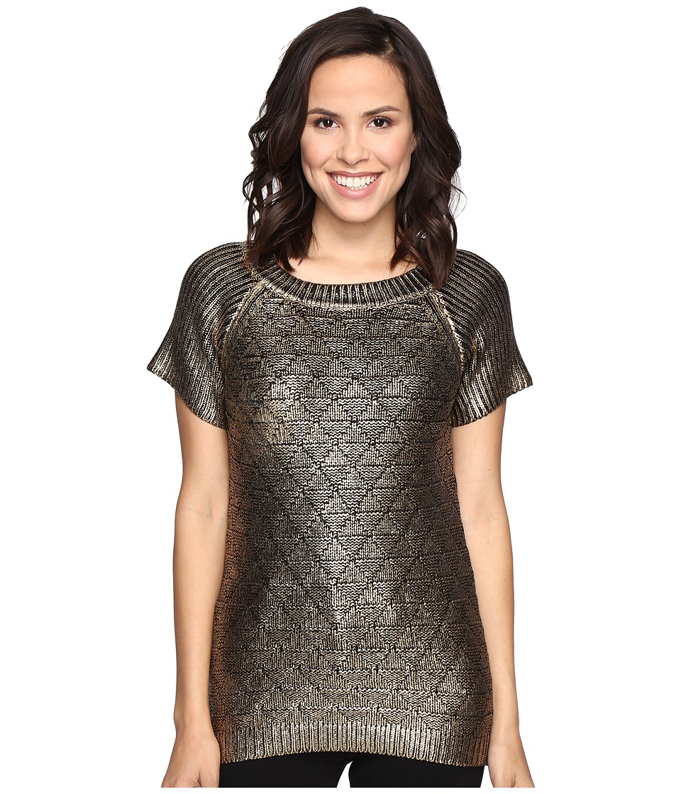 ROMEO & JULIET COUTURE - Short Sleeve Crew Neck Metallic Knit Sweater (Gold) Women's Sweater