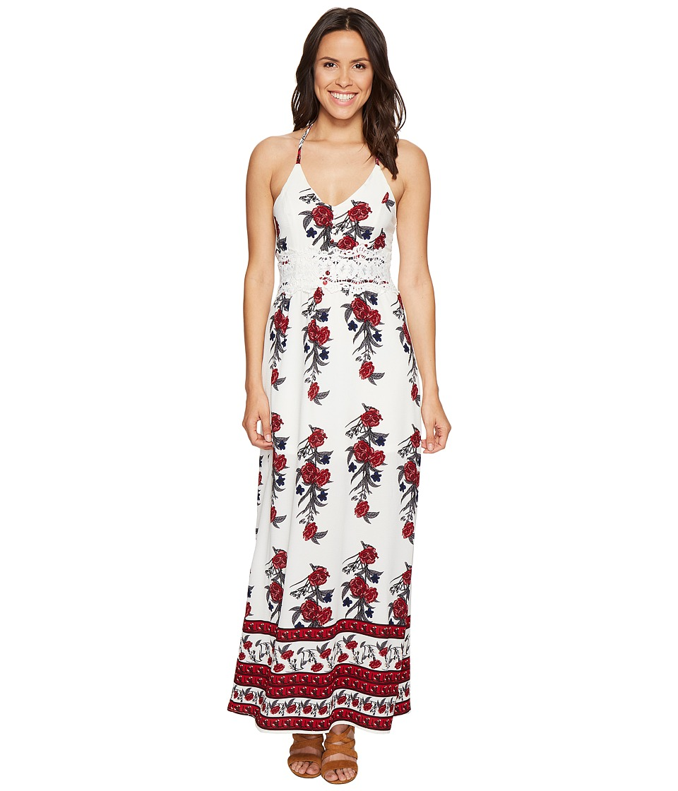 ROMEO & JULIET COUTURE - Open Back Floral Print Maxi Dress (Ivory Combo) Women's Dress