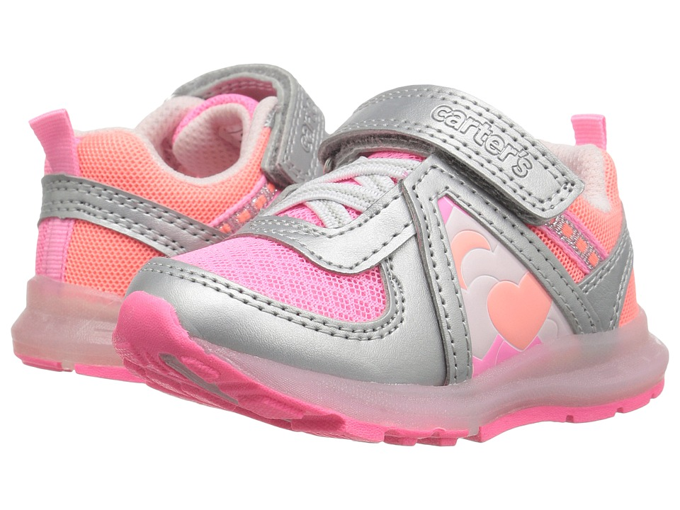 Carters - Unison-G Light-Up Sneaker (Toddler/Little Kid) (Silver/Pink/Orange) Girl's Shoes