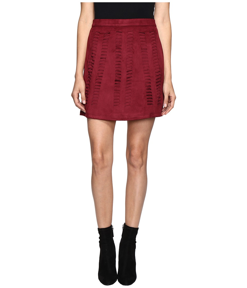 ROMEO & JULIET COUTURE - Suede Woven A Line Skirt (Maroon) Women's Skirt