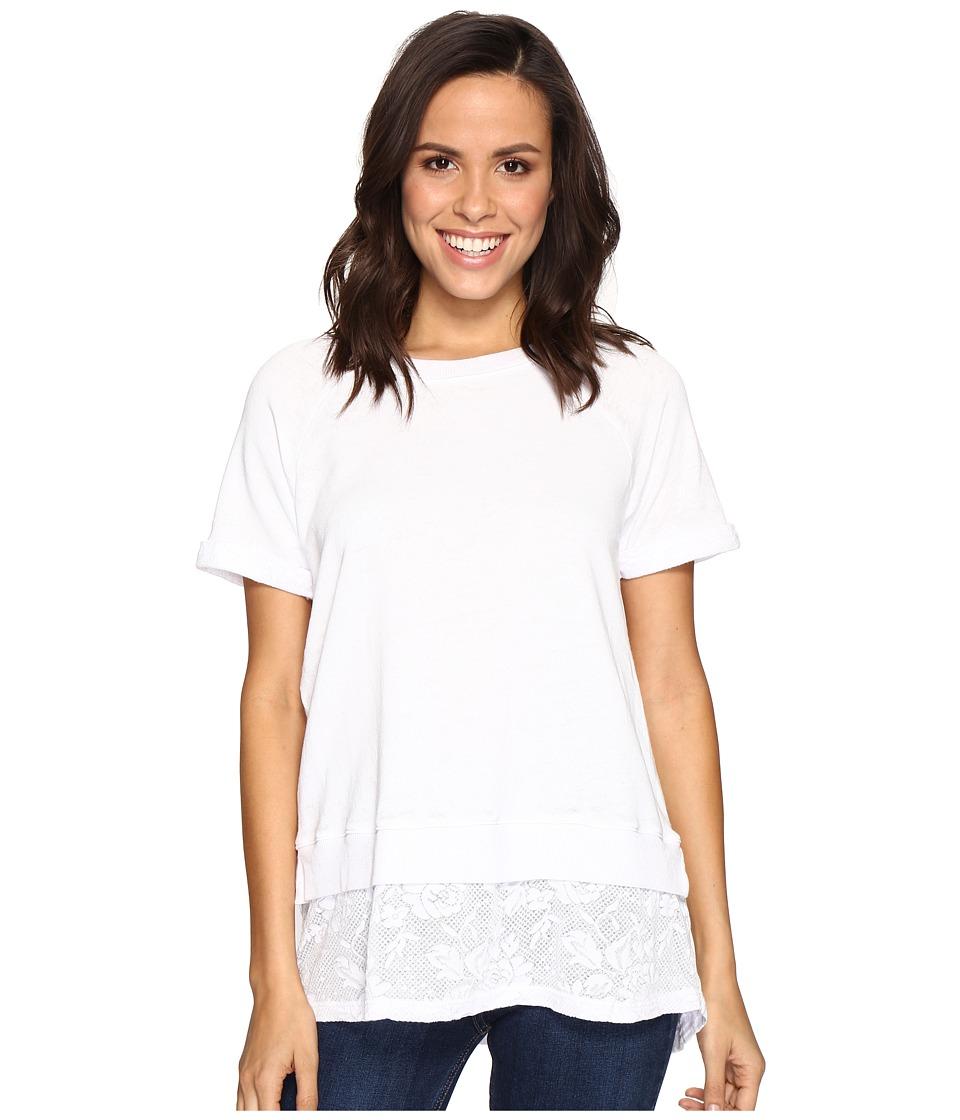 Allen Allen - Short Sleeve Raglan Crew with Lace Hem (White) Women's Clothing