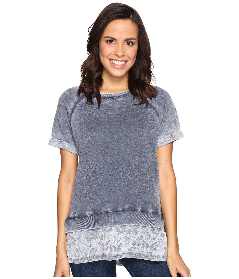 Allen Allen - Short Sleeve Raglan Crew with Lace Hem (Lapis) Women's Clothing